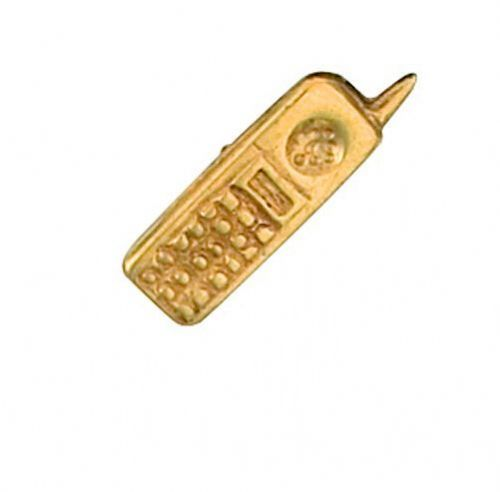 Mobile Phone Tie Pin Tack Yellow Gold Hallmarked Handmade
